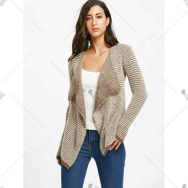 Collarless Long Sleeve Knitted Drape Front Cardigan - Khaki S