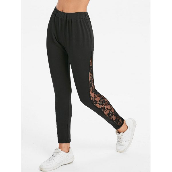 Elastic Waist Fitted Leggings with Lace