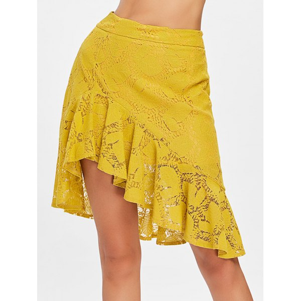 Leaf Lace Ruffle Skirt - Bee Yellow