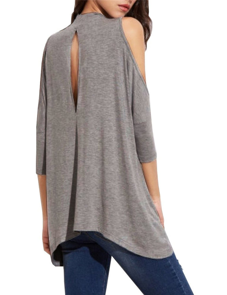 c88edb149e244 ... Women s High Neck Cold Shoulder T-shirt Hole Back Tees Juniors Girl  Loose ...