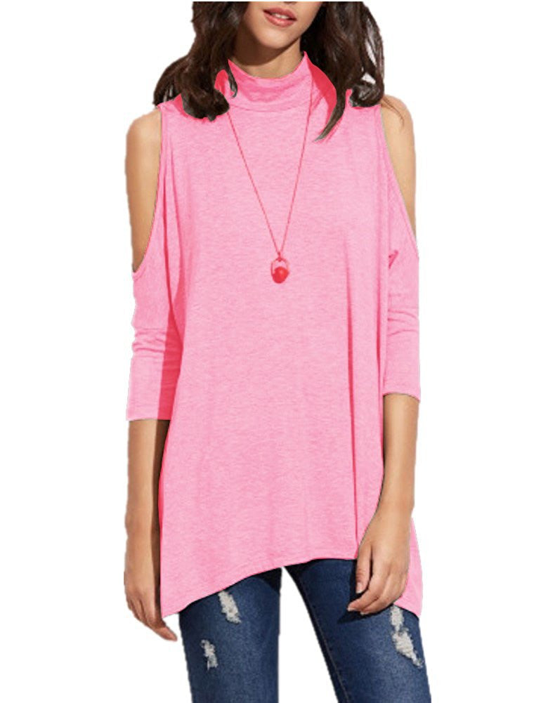 64509a20715f7 Women s High Neck Cold Shoulder T-shirt Hole Back Tees Juniors Girl Loose  ...