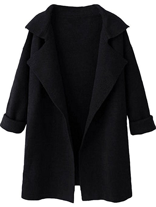 Women's Long Sleeve Cardigan Lapel Open Front Sweater