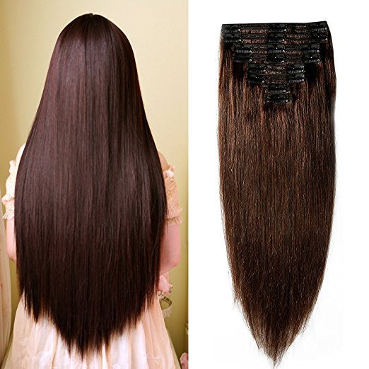 Double Weft 100% Remy Human Hair Clip in Extensions