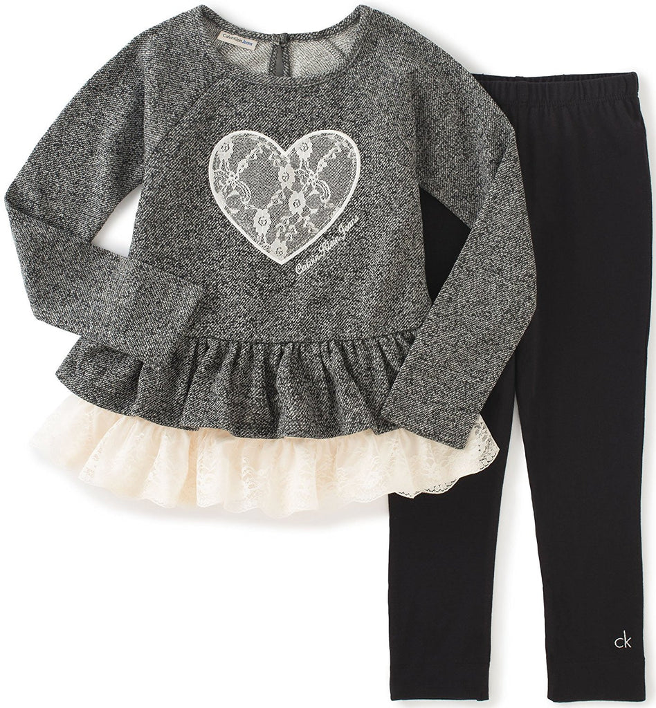 Calvin Klein Girls' French Terry/Lace Tunic with Leggings Set