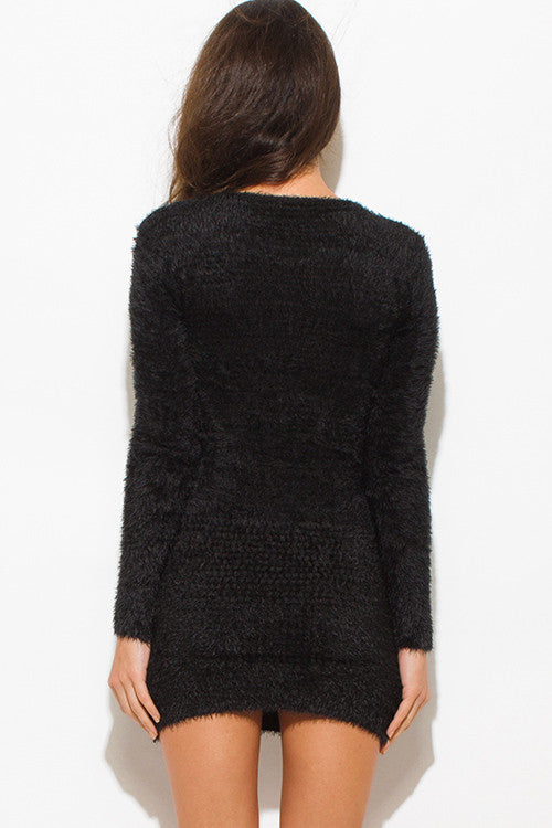 Moscow Black Textured Fuzzy Sweater Pocketed Long Sleeve Fitted Club Tunic Top Mini Dress