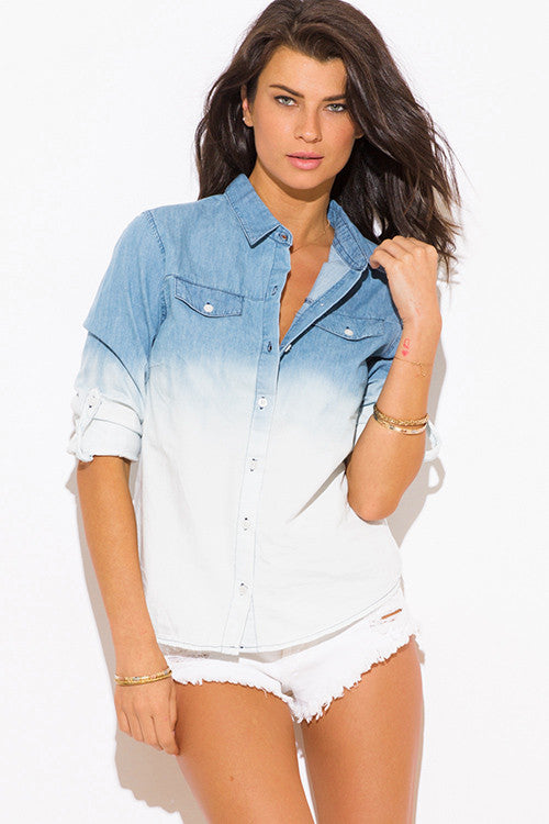 BLUE OMBRE WASHED DENIM BLOUSE TOP