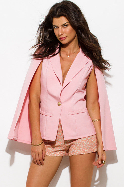 WOMENS BLUSH PINK MILITARY BUTTON CAPE JACKET SUITING BLAZER