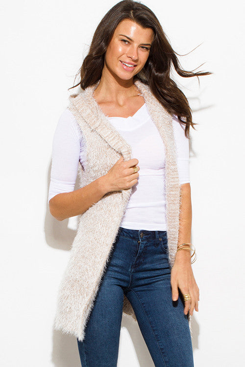 PINKY PROMISES CREAM BEIGE TEXTURED OPEN FRONT HOODED FUZZY SWEATER KNIT CARDIGAN VEST TOP