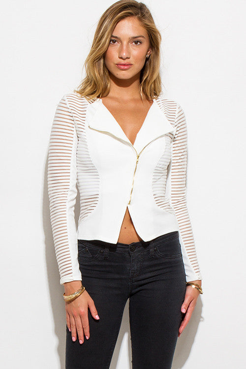 OLD SCHOOL LOVE IVORY WHITE SHEER STRIPE MESH CONTRAST ASYMMETRICAL ZIP UP MOTO BLAZER JACKET TOP