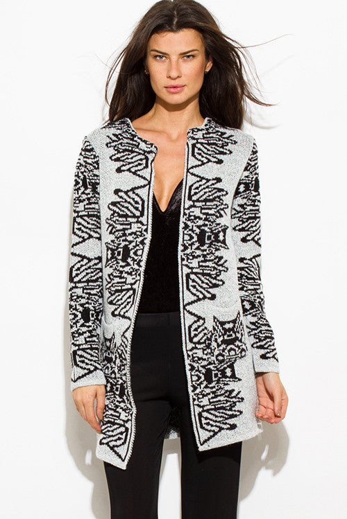Copy of WOMENS LIGHT HEATHER GRAY BLACK ABSTRACT PRINT ACRYLIC OPEN FRONT POCKETED SWEATER KNIT LONG CARDIGAN