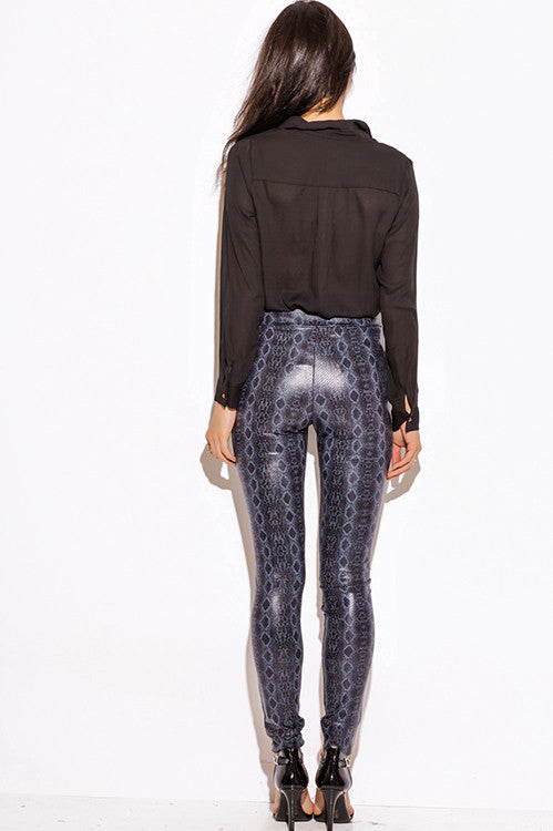 Night Vision navy blue python snake animal print faux leather high waisted leggings skinny pants