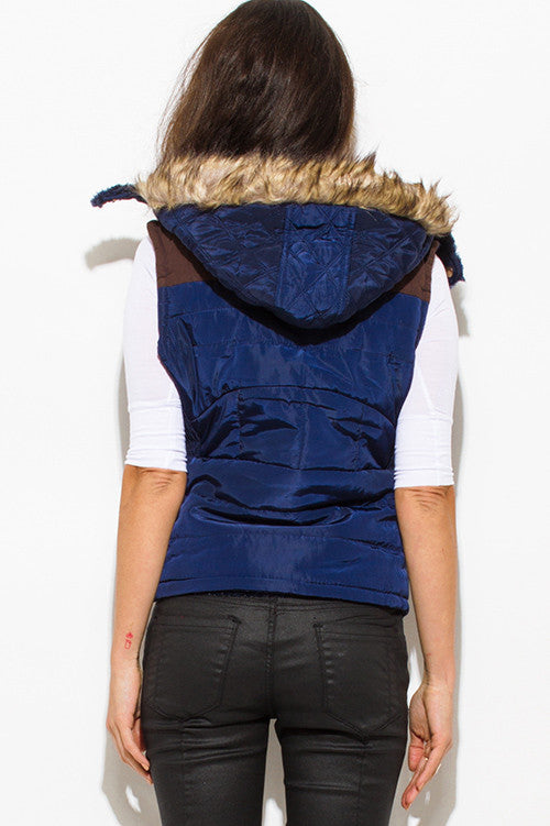 EMPTY STREETS NAVY BLUE QUILTED SUEDE CONTRAST FAUX FUR LINED GOLDEN BUTTON ZIP UP HOODED POCKETED VEST TOP