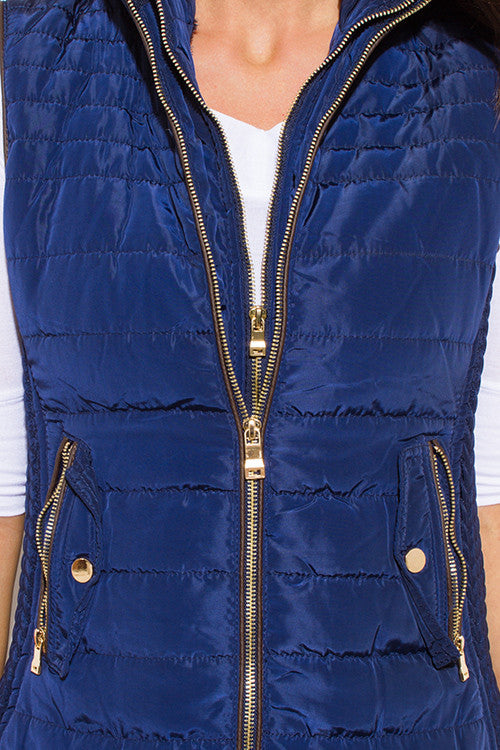 High Volume Double Zipper Hooded Puffer Vest Top