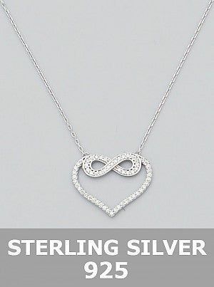 Sterling Silver 925 Cz Love Heart Infinity Stencil Delicate Necklace