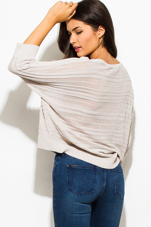 WOMENS TAUPE BEIGE SHEER STRIPE SCOOP NECK DOLMAN QUARTER SLEEVE SWEATER KNIT TOP