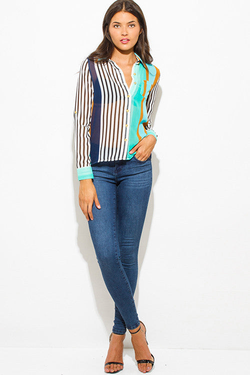 MURRIETA TEAL BLUE MULTICOLOR STRIPE SEMI SHEER CHIFFON QUARTER SLEEVE HIGH LOW HEM BUTTON UP BLOUSE TOP
