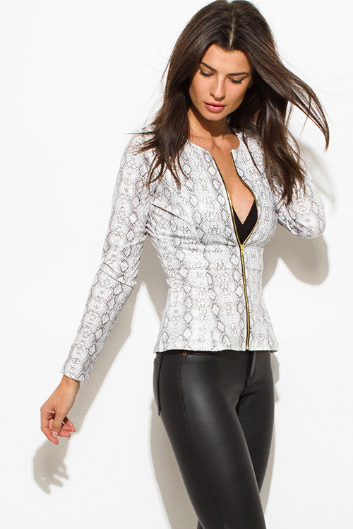 WOMENS WHITE PYTHON SNAKE ANIMAL PRINT FAUX LEATHER LONG SLEEVE PEPLUM JACKET