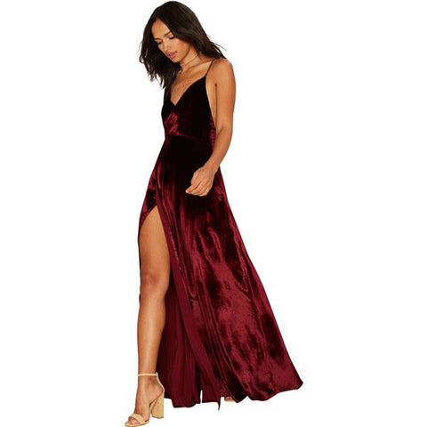 Backless Maxi Velvet Slit Dress