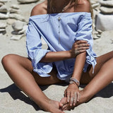 Off Shoulder Blouse Bow Tie Cuff Sleeve