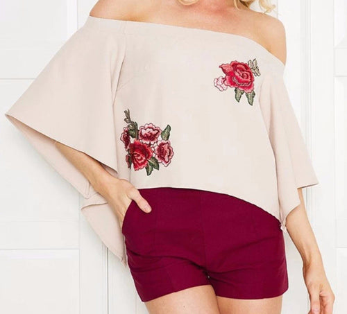 Embroidery Rose Open Back Top