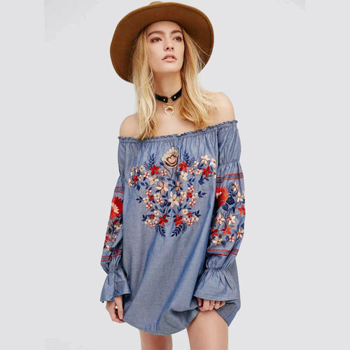 Boho Floral Embroidery Top