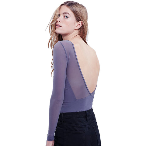Mesh Backless Shirt