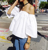 Off Shoulder Trumpet Sleeves Top