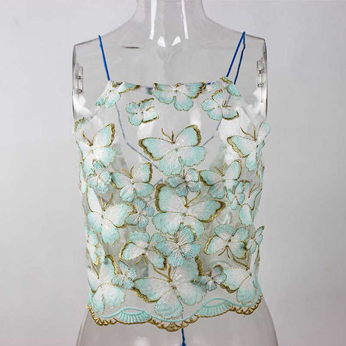 Butterfly Lace Halter Top