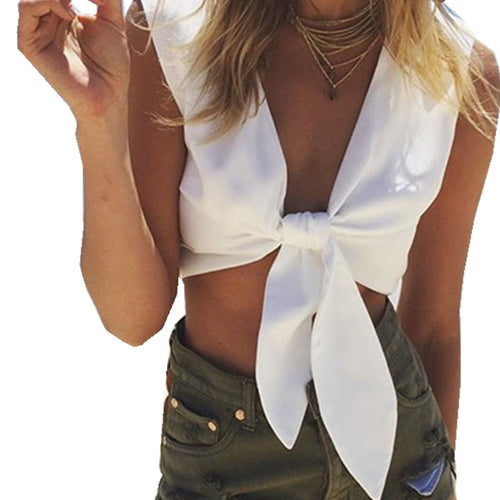 Deep V Bow Crop Top