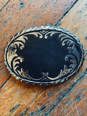 Filigree Black And Silver Belt Buckle