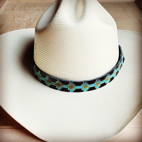 Turquoise Embossed Leather Hat Band