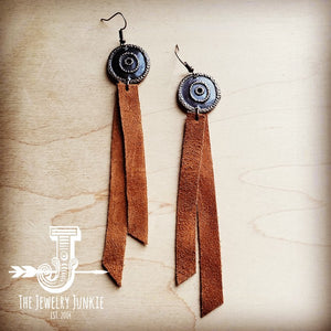 Leather Rectangle Earrings With Tan Suede