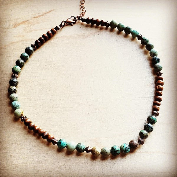 African Turquoise Choker Necklace