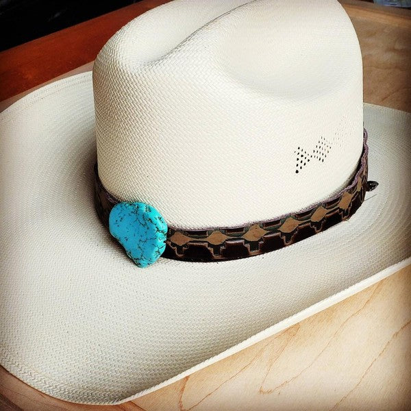 Embossed Leather Hat Band With Turquoise Slab