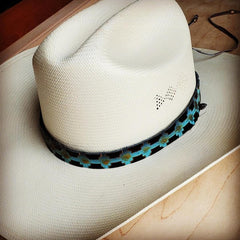 Blue Embossed Leather Hat Band