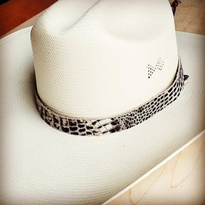 Bronze & Cream Gator Embossed Leather Hat Band