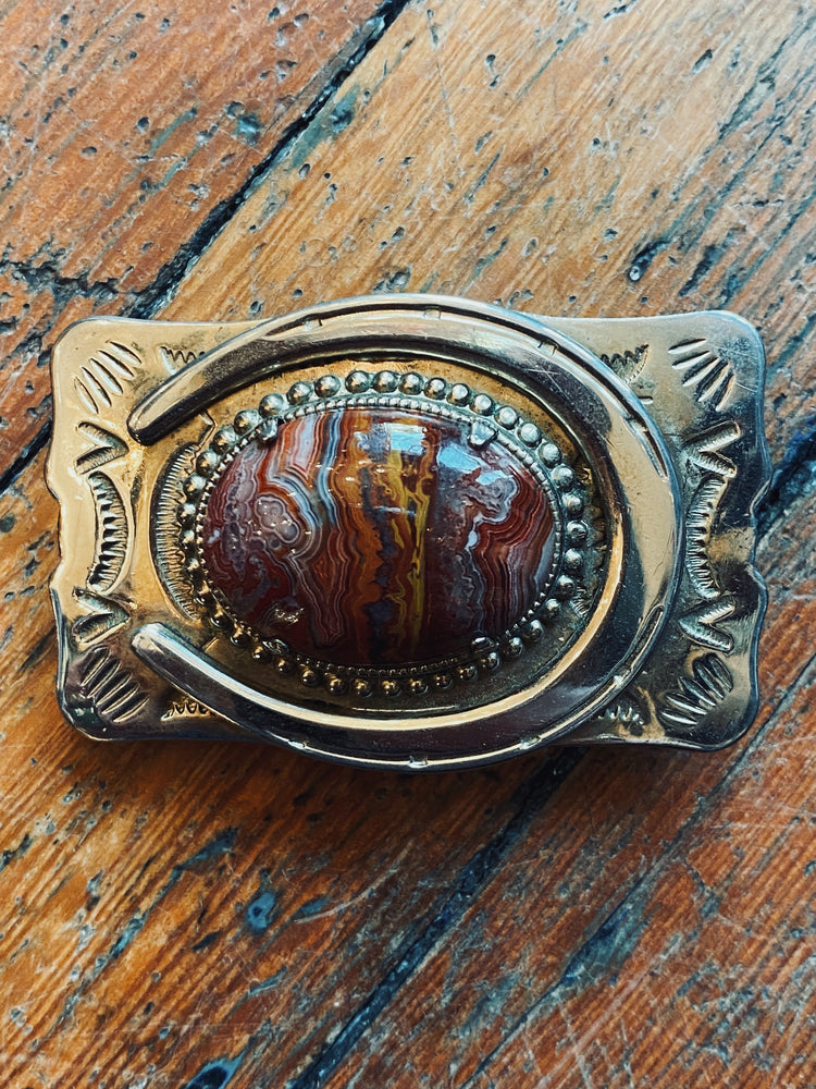 Brecciated Jasper Horseshoe Belt Buckle