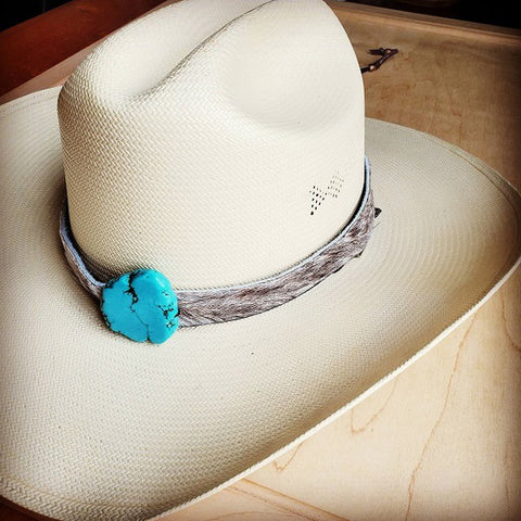Hair On Hat Band With Turquoise