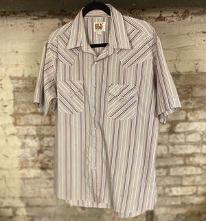 Vintage Men's Stripe Snap Up Sz L