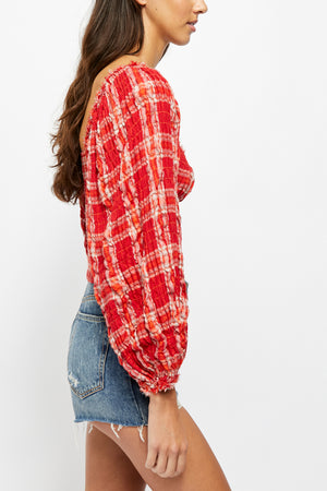 Load image into Gallery viewer, Cherry Bomb Madrass Plaid Top