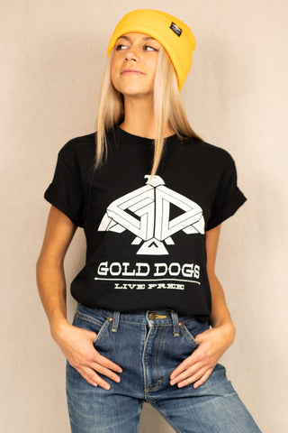 Gold Dogs Live Free Tee