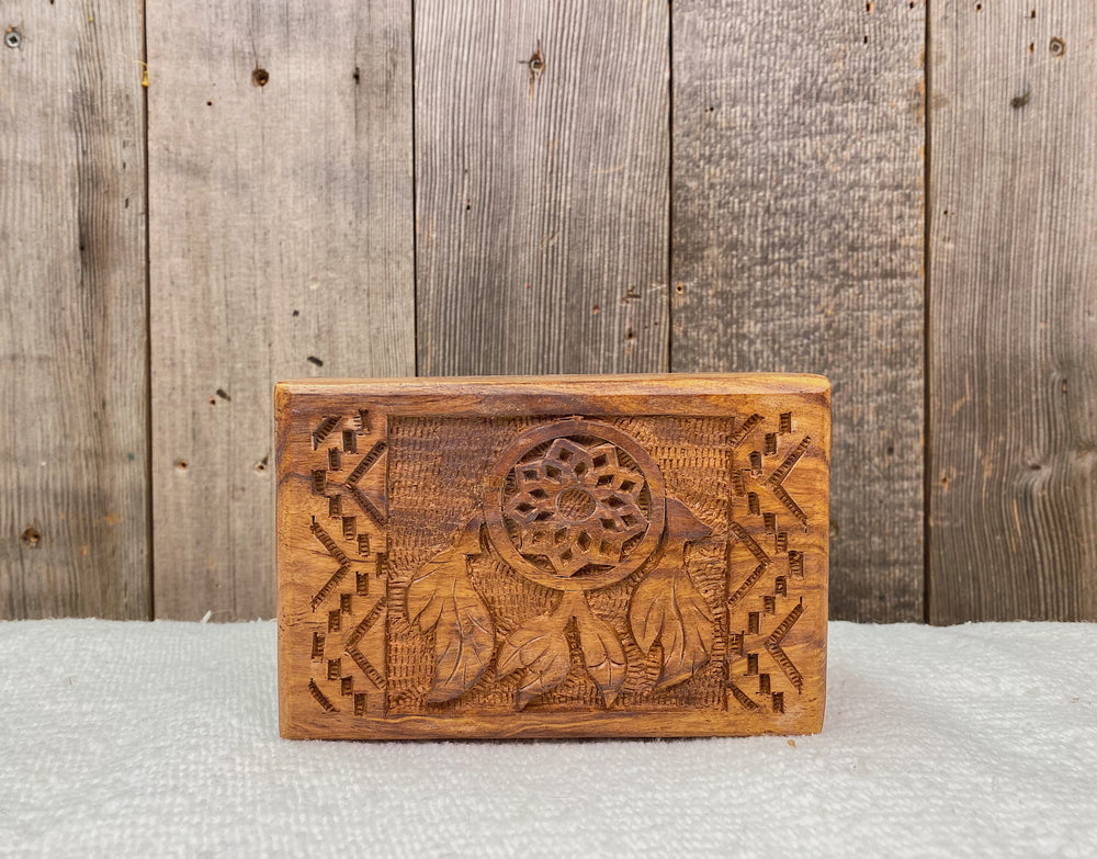 Hand Carved Inlay Wooden Jewelry Box