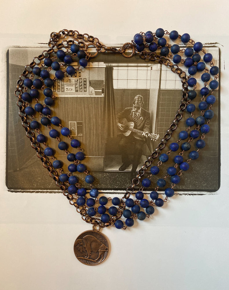 Frosted Blue Lapis Triple Strand Necklace