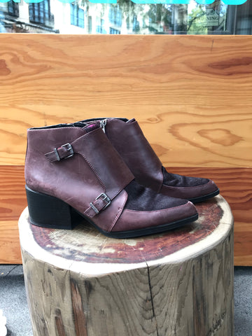 Babe's Chocolate Calf Hair Ankle Boot Size 10