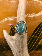 Sterling Silver and Turquoise Captain Ring