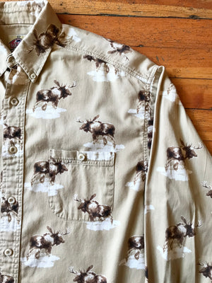Men's Moose Button Up Sz M
