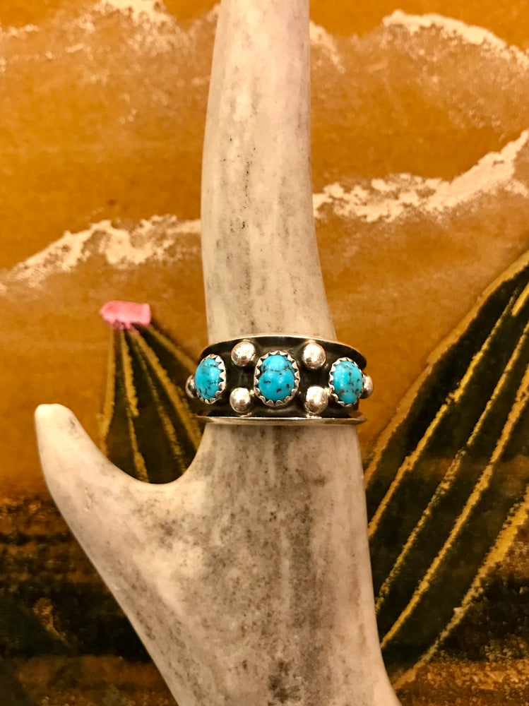 Sterling Silver and Turquoise Tripple Stone Ring