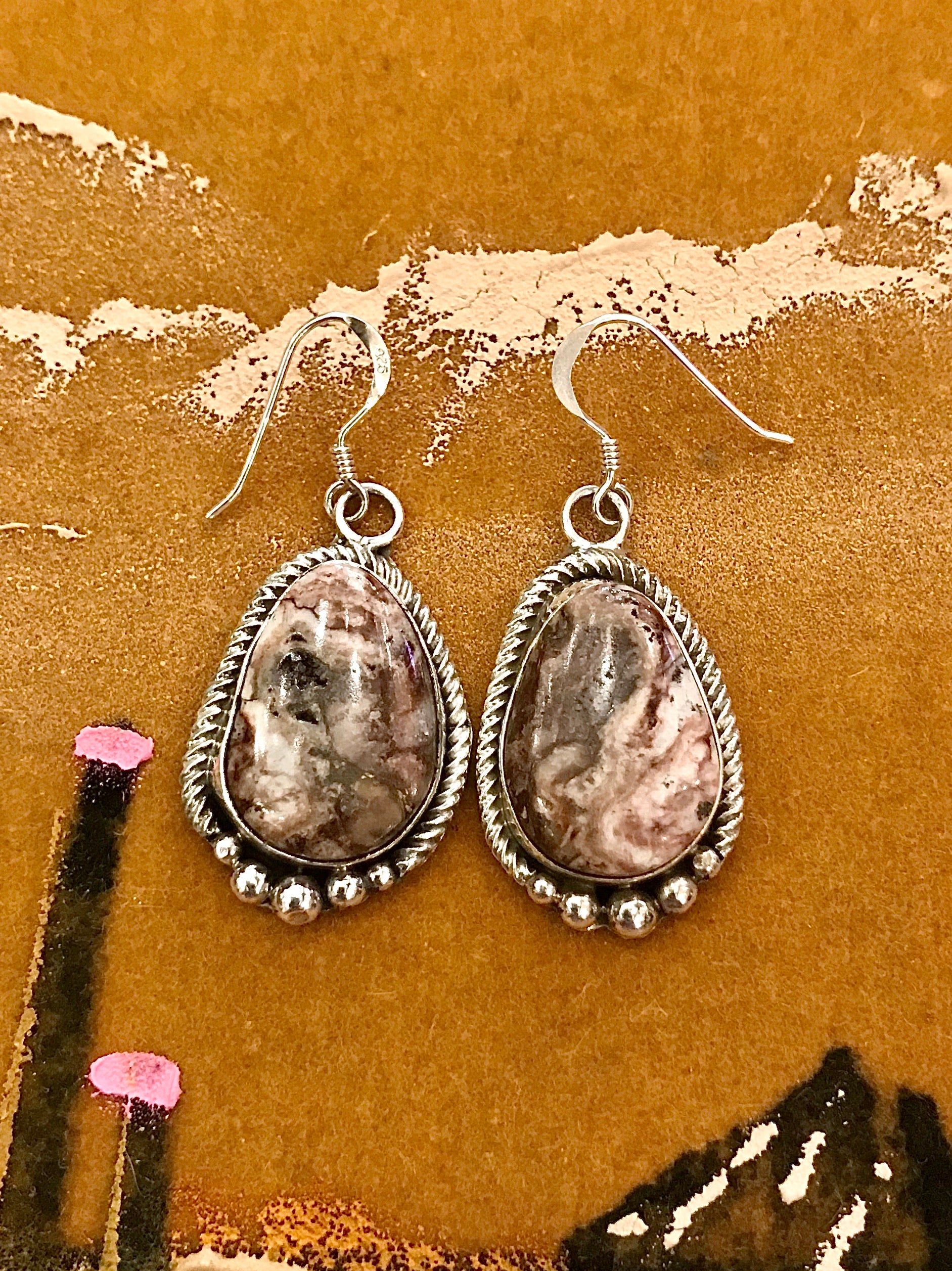 Sterling Silver and Purple Spiny Oyster Drop Earrings