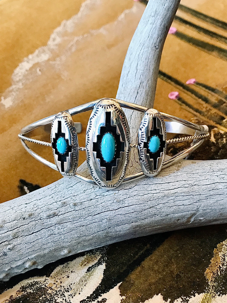 Load image into Gallery viewer, Sterling Silver and Turquoise 3 Stone Cuff Bracelet
