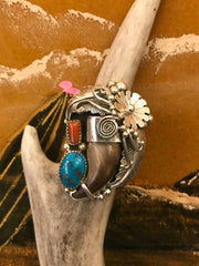 Sterling, Turquoise, Coral, and Bear Claw Ring